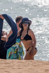 Salma Hayek Wearing a Bikini at a Beach in Hawaii - August 2015