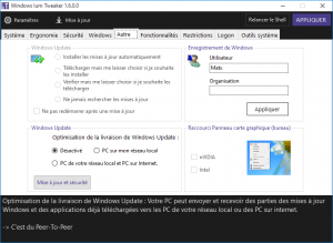 Windows Tweaker peu aussi modifier les paramètres de Windows Update