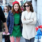 Ellie Kemper & Tina Fey walking to the set of 'Unbreakable Kimmy Schmidt' NYC 10/13/2015