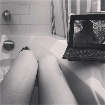 CATHERINE BELL *P.O.V. bathtub legs*