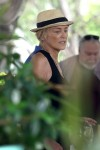 Sharon Stone at her Hotel surrounded by Friends, having Lunch in Miami November 8-2015 x37