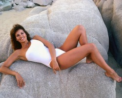 Raquel Welch: Stretching Out A White One-Piece: UHQ x 3