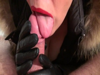 Leather gloves blowjob