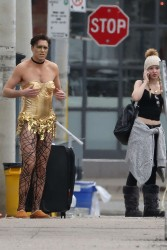 Dove Cameron on the set of 'Rocky Horror Picture Show' in Toronto x4
